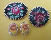 SALE Vintage Petit Point Brooches and Earrings