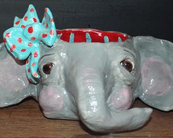 Folk Art Pottery Elephant Circus Planter Vintage Style Garden Elephant Sculpture Whimsical