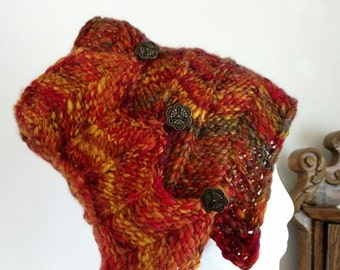 January Sale Headwrap/Messy Bun Hat/Headband for Winter - Fire Phoenix Colors - Handspun Handknit Bohemian Headwrap with Art Deco Brass Butt