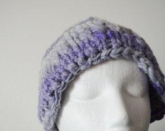 Handspun Hand Knit Pixie Helmet - Double Layered, Shallow Helmet-Style Fit, Purple Handspun Sparkle Art Yarn Knit With Grey Farmwool Curls