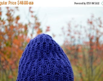 May Sale - 20% off Victor Hand Knit Hat in Organic Merino Wool US Spun Yarn - Deep Blue, Textured, Knit, Stocking Cap, Fall Fashion, Wool, W