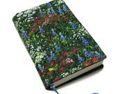 Book cover, TRADE SIZE paperback book cover,  book protector, cotton, padded cover, ribbon bookmark,  Wildflowers