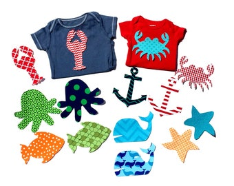 Ocean,Nautical Theme Baby Shower,Baby Girl,Boy,7 - 14 -21- 28 Piece Applique Sets Available ,Fabric Iron On Appliques, NEW SET