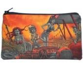Zombie Makeup Bag Zipper Pouch Gadget Bag Clutch Rockabilly Drive In Psychobilly Monster Horror
