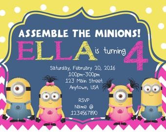 Minions Birthday Party Digital Invitation Design
