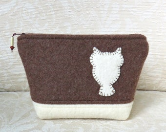 Snowy Owl Silhouette Zip Pouch, Eco Friendly, Upcycled Felted Wool Clutch