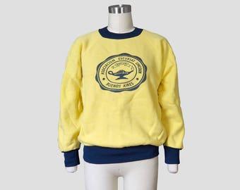 Vintage Yellow Asociacion Escuelas Lincoln School Sweatshirt Sz M