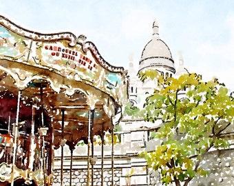 Printable Photo Art, Sacre Coeur Carrousel, Instant Download Digital File, Paris Watercolor Painting