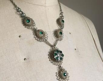 Vintage Wire & Rhinestone Necklace