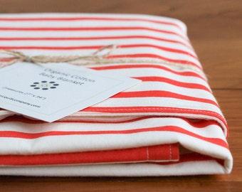 Striped Baby Blanket; Red, Ivory Stroller Blanket, Handmade Newborn Baby Present, Organic Cotton Baby Shower Gift Boy, Girl; Sailor Stripes