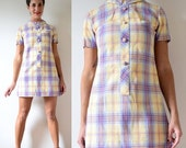 HOLIDAY SALE / 20% off Vintage 60s 70s Pastel Plaid Collared MOD Mini Dress (size small, medium)