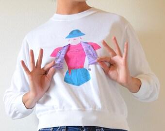 SUMMER SALE / 20% off Vintage 80s 90s Gone Fishin Interactive Fisherwoman Pullover Sweatshirt