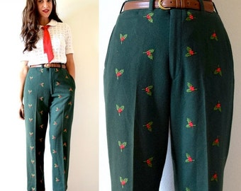FLASH SALE / 20% off Vintage 60s 70s Under the Mistletoe Green Wool Embroidered Trousers