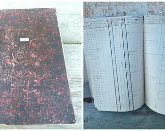 Vintage Antique 1911 French handwritten  register notebook