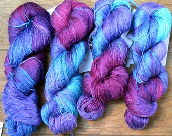 Handpainted Silk Yarn -  Purples/Blue/Wine 12/2 Lace Weight