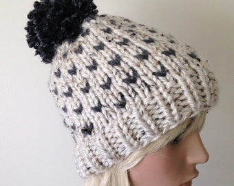 Slouchy Knit Hat Vegan Women's Pom Pom Hat Fair Isle Ski Hat Chunky Hat Oatmeal and Charcoal