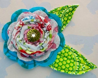 Sewn Fabric Flower with Rosette and Leaves