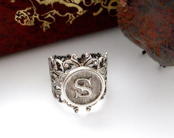 SILVER RING - Initial - Letter S Filigree Floral Ring - Antique Silver Ring ~ Adjustable Statement Ring (RE-1)
