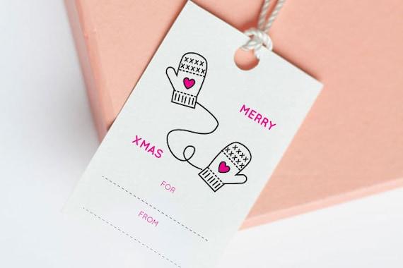 Merry Christmas printable tags, Christmas Gift Tag, Printable Christmas Tags, Digital Christmas Tags - Set of 8 (English + French)