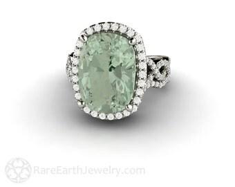 Custom Order Green Amethyst Ring Cushion Diamond Halo Ring and Band