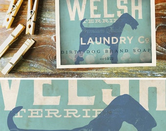Welsh Terrier Dog laundry company laundry room artwork giclee archival signed artists print by Stephen Fowler