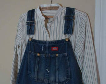 Dickies Overalls Blue Denim 90s vintage Overalls made in USA Worn distressed Overalls vintage denim maternity overalls L 39 waist