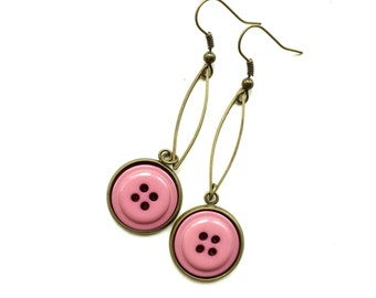 Long Dangle Button Earrings with Mauve Pink Buttons