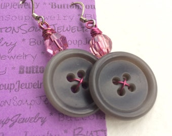 Shabby Chic Gray and Pink Vintage Button Earrings