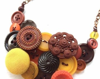 Spring Sale Autumn Necklace Button Jewelry Necklace with Rust, Pumpkin, and Mustard Colors