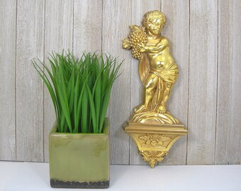 Syroco Golden Boy on Plinth Holding Grapes - 1969 Wall Plaque - Roccoco Style Accent Piece - Bright Metallic Gold - Cherub -Home Wall Decor