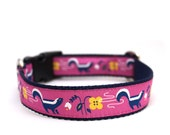 """1"""" So Stinkin' Cute pink buckle or martingale dog collar"""