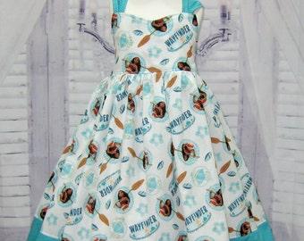 Aqua Polka Dots Girl Dress, Moana Inspired Girl Dress, Princess Dress, Tea Time Girl Dress, Birthday Girl Dress, Aqua Girl Dress, Bow Dress