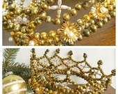 Gold Crown... Antique Mercury Glass Bead Faux Pearl Crown Chrismon Ornament Religious Christian Holiday Christmas Decoration