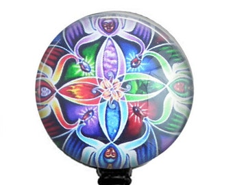 ID Badge Holder - Colorful Kaleidoscopic Design Photo Glass on  Retractable Badge Reel 221