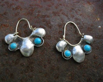 Silver Turquoise Earrings,  Hammered Hoops, Sterling Turquoise Hoops, Turquoise Earrings, Silver flower Earrings, Unique Earrings Turquoise