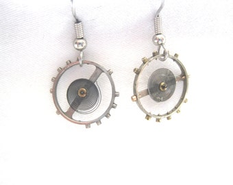 Handcrafted Antique Watch Gear earrings-free shipping