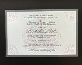 Stephanie's Royal Letterpress Wedding Invitation - SAMPLE