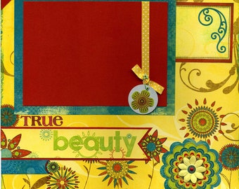 12x12 Premade Scrapbook Page - True Beauty