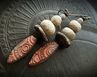 Rustic, Tribal, Clay, Red Clay, Clay Beads, Old Beads, Artisan Made, Organic, Primitive,  Beaded Earrings