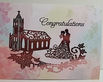 Marriage Congratulations Card, Pink foil, blank inside