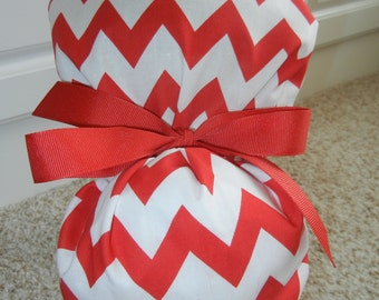 Fold Up Ponytail Scrub Hat with Red White Chevron CHOOSE RIBBON COLOR