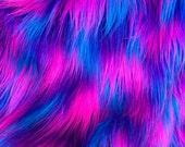 Cyber Pop - quality dense multi colour fluffy synthetic fur fabric   - Long HALF