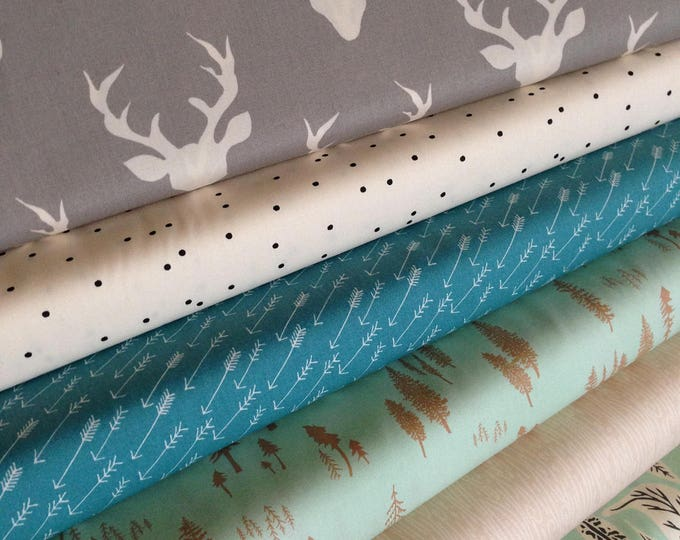 Hello Bear fabric bundle by Bonnie Christine for Art Gallery Fabrics, Deer fabric, Bundle of 6- You Choose the Cut, Free Shipping Available