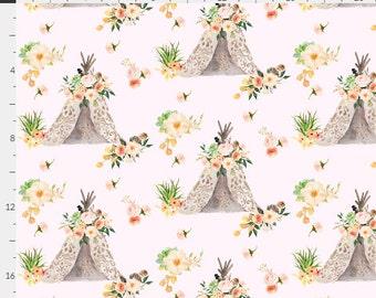 Floral Aztec Teepee Boho Pink Blush & Peach Baby Nursery Crib Bedding Set CHOOSE and CUSTOMIZE
