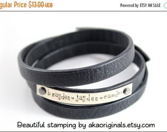SPRING BLOW-OUT Sale Leather Wrap-Around Bracelets - 3/8 inch wide X 24 inches long - Triple Wrap - Black - Bulk Quantity of 6 - by WonderSt