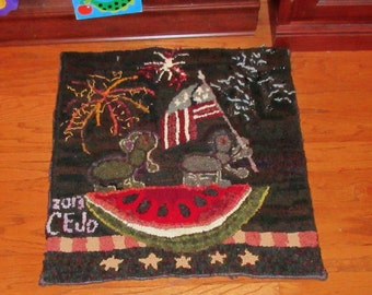 Two PatriAnts Hooked Rug ~ Fireworks, Fourth of July, Memorial Day, Flag Day, Labor Day, or Year Round!     My Little Bear Rug Design©