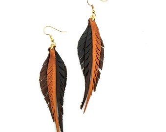 Leather Feather Earrings - brown and caramel
