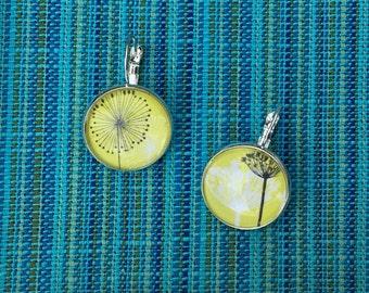 Lime Dandelion Drop Earrings