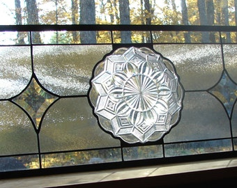 stained glass panel Crystal Clear with star bevels