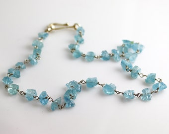 Aquamarine Birthstone Necklace - Rough Nuggets - Aquamarine Necklace - Sterling Silver